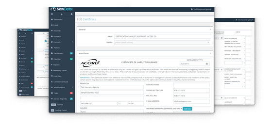 Insurance agency managements system acord forms