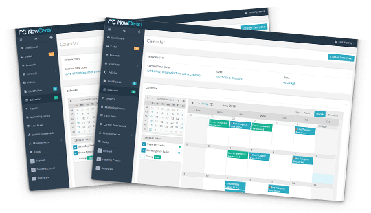 Insurance agency management software calendar widget