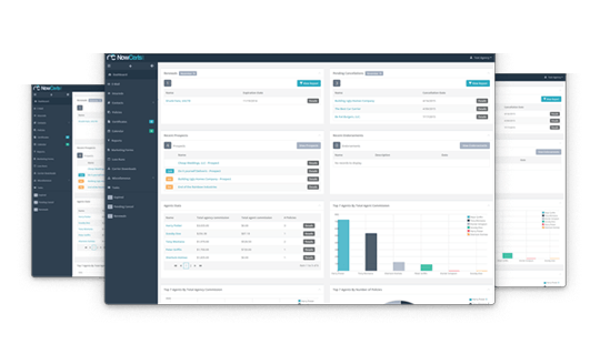 Insurance agency management software profile dashboard